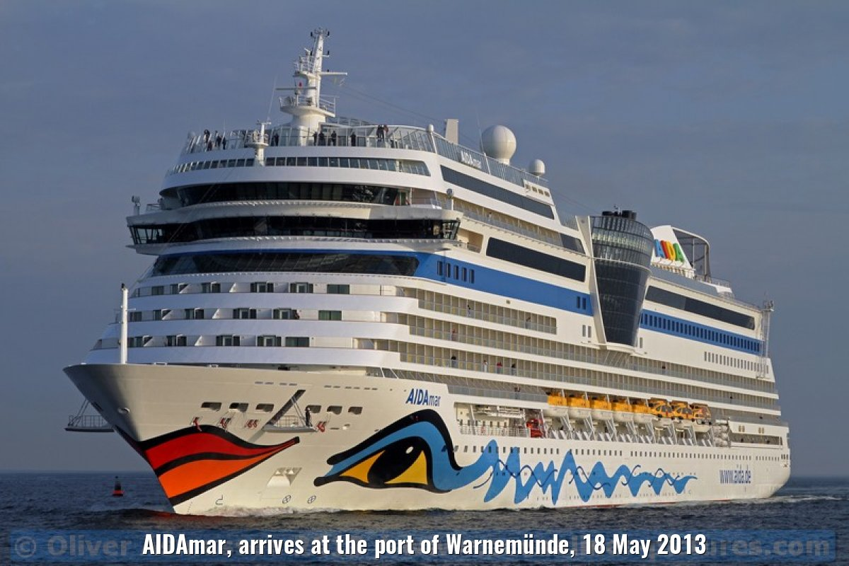 AIDAmar, arrives at the port of Warnemünde, 18 May 2013