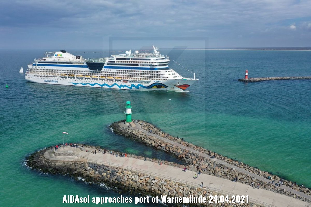 AIDAsol approaches port of Warnemünde 24.04.2021