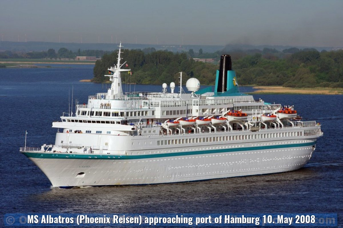 MS Albatros (Phoenix Reisen) approaching port of Hamburg 10. May 2008