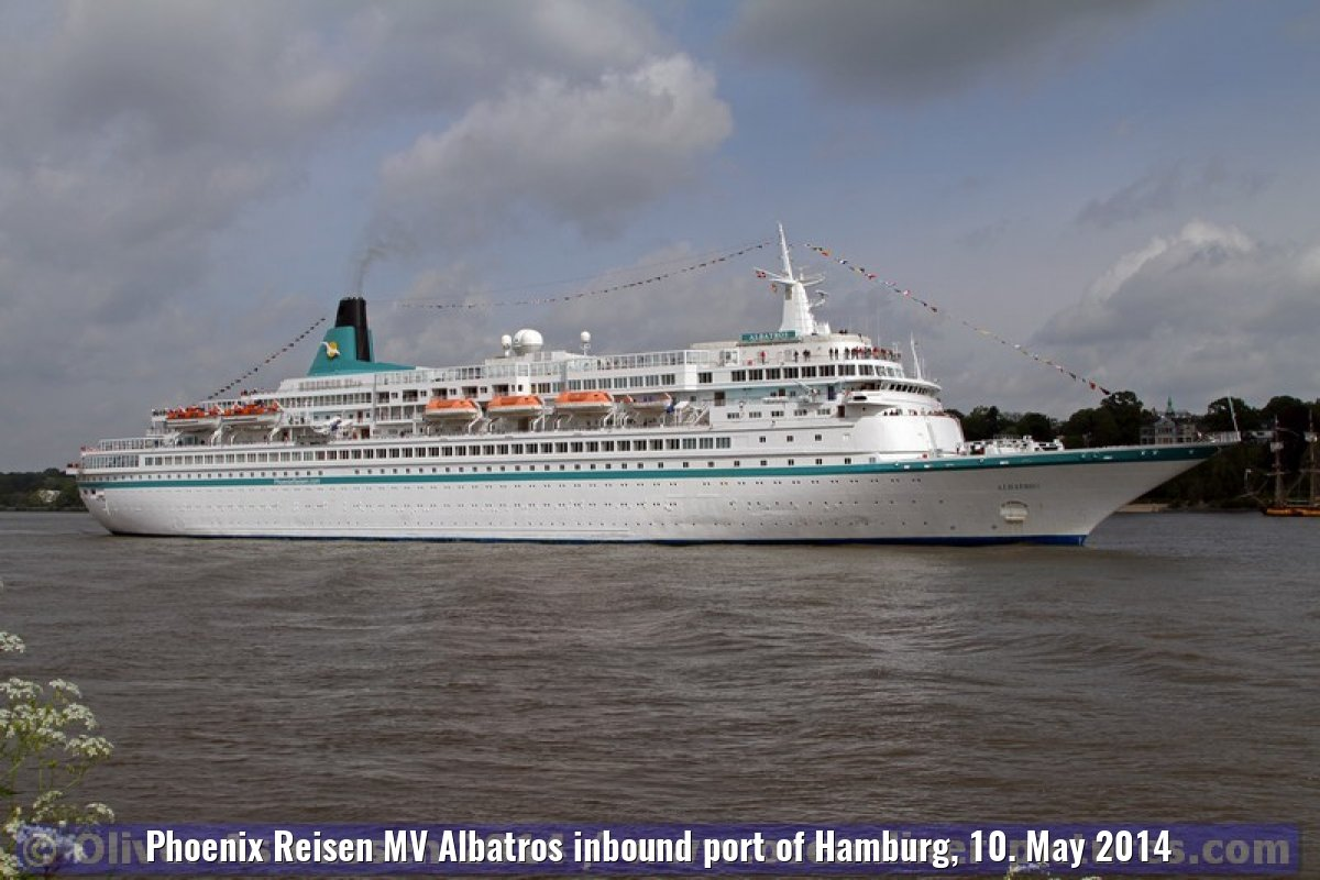 Phoenix Reisen MV Albatros inbound port of Hamburg, 10. May 2014