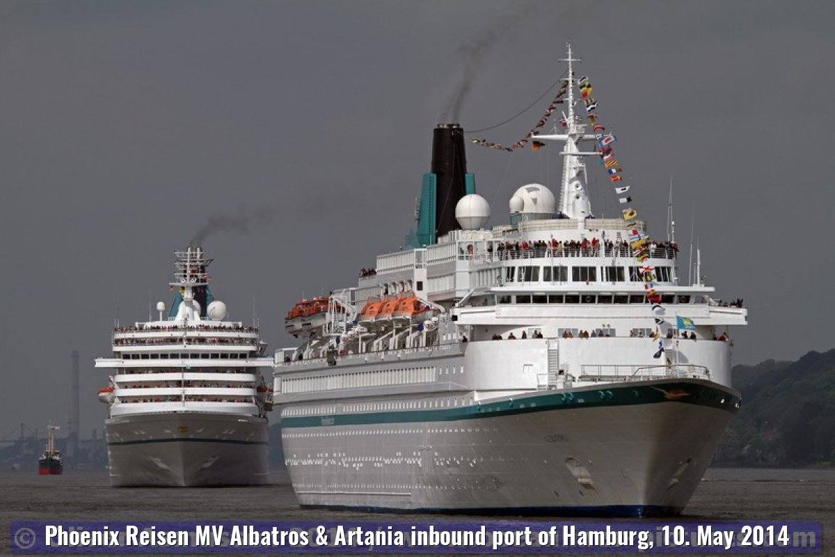 Phoenix Reisen MV Albatros & Artania inbound port of Hamburg, 10. May 2014