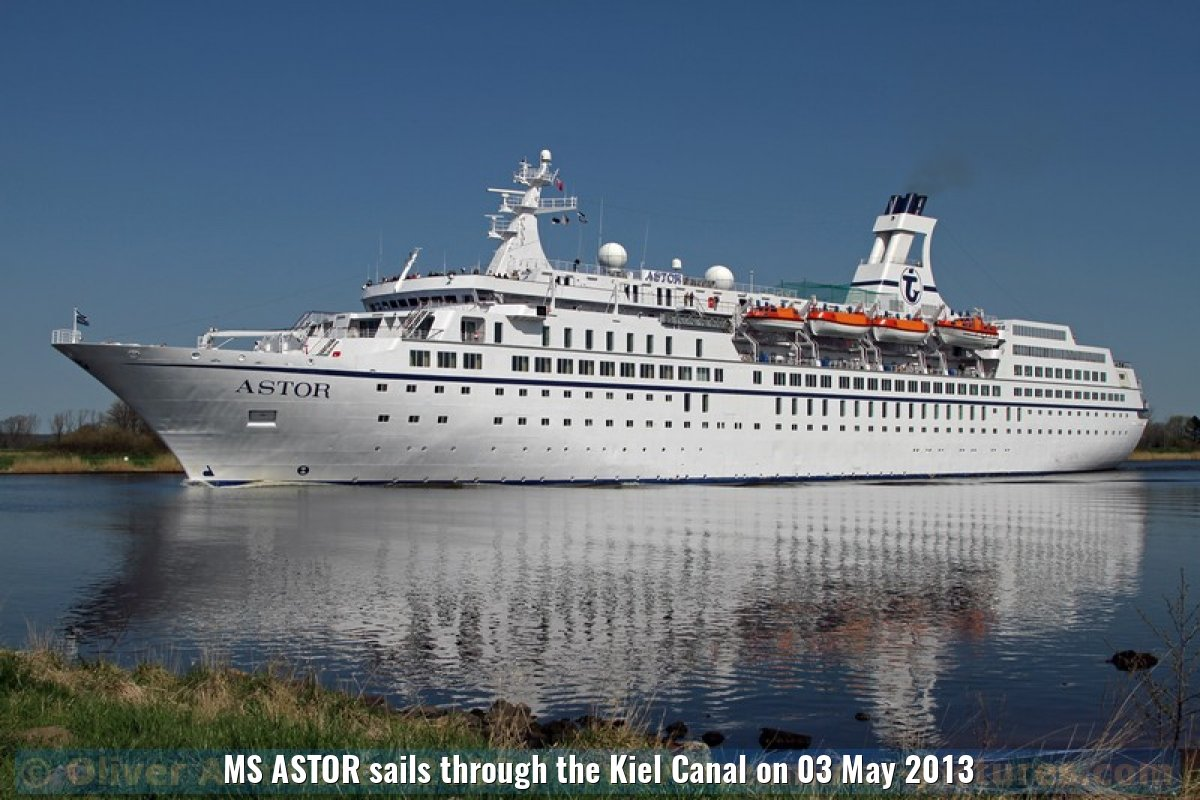 MS ASTOR sails through the Kiel Canal on 03 May 2013