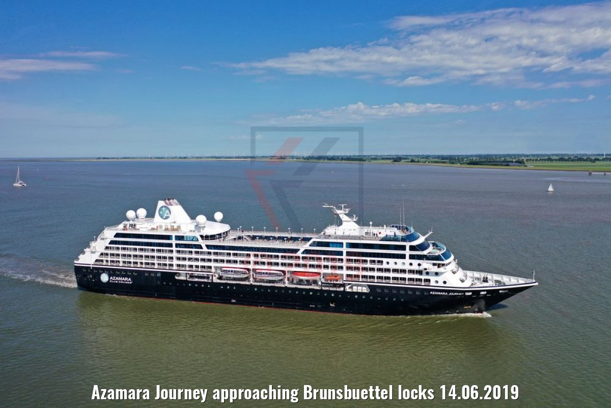 Azamara Journey approaching Brunsbuettel locks 14.06.2019