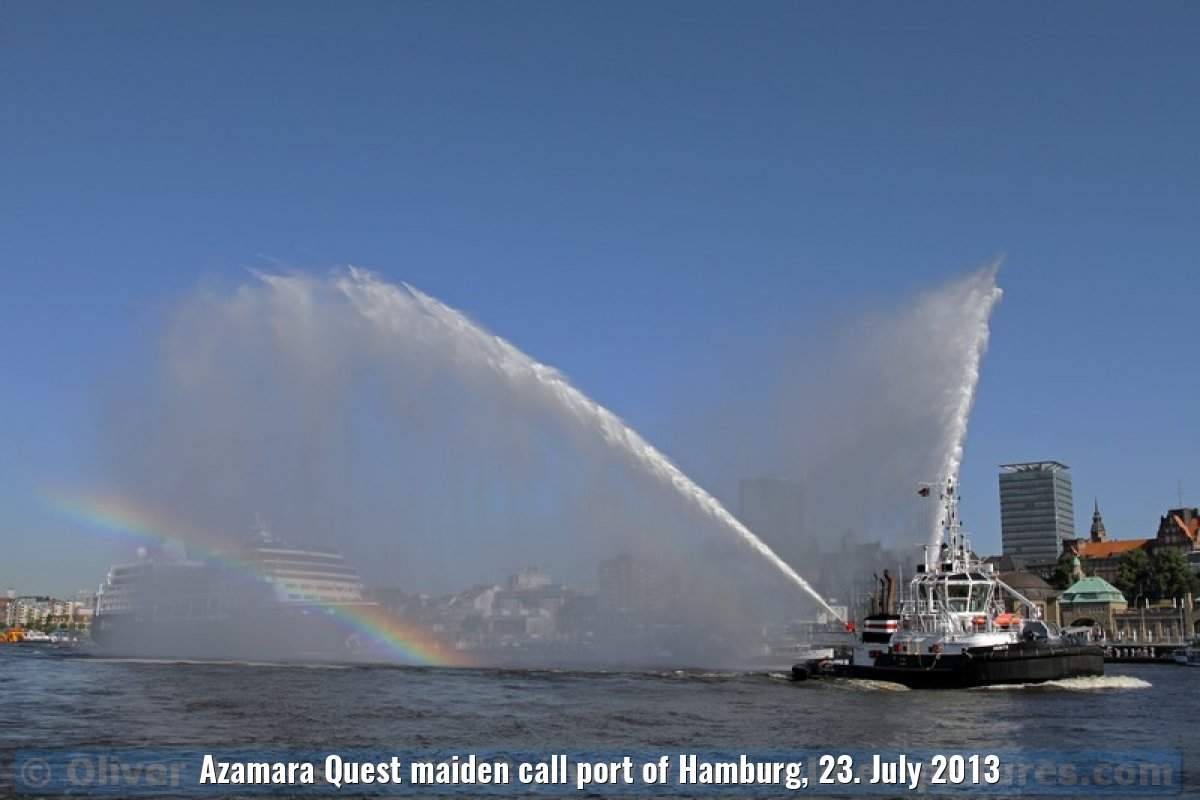 Azamara Quest maiden call port of Hamburg, 23. July 2013