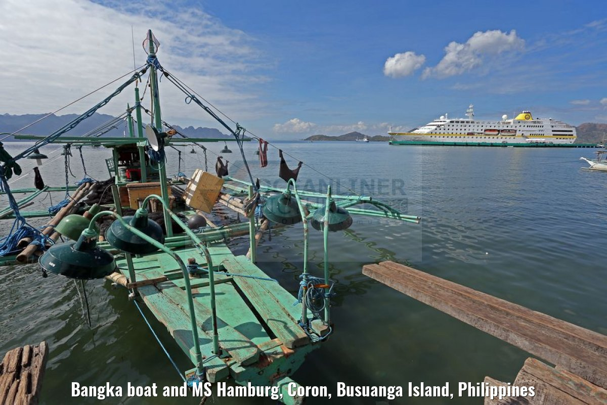 Bangka boat and MS Hamburg, Coron, Busuanga Island, Philippines