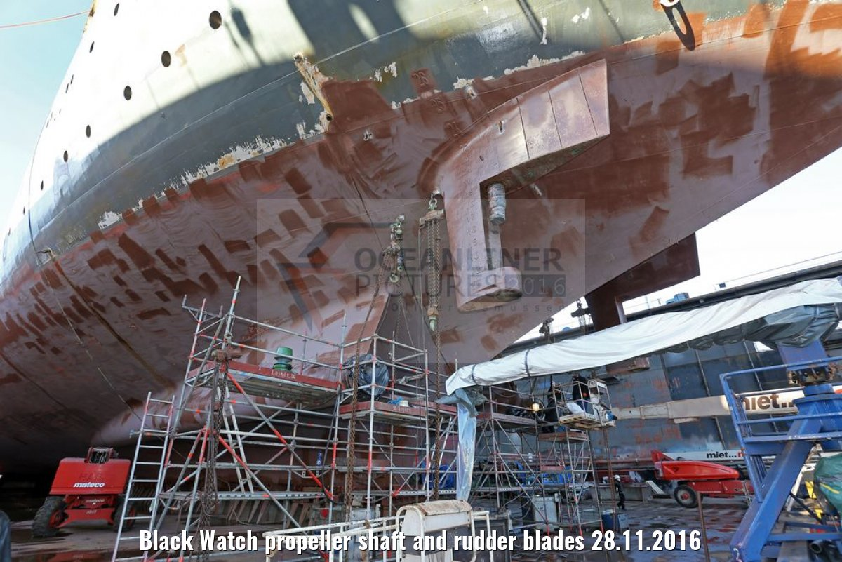 Black Watch propeller shaft and rudder blades 28.11.2016