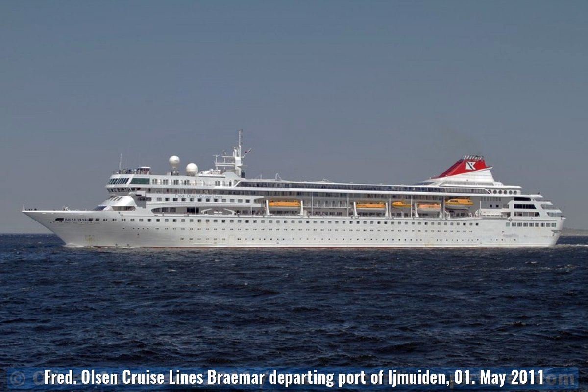 Fred. Olsen Cruise Lines Braemar departing port of Ijmuiden, 01. May 2011