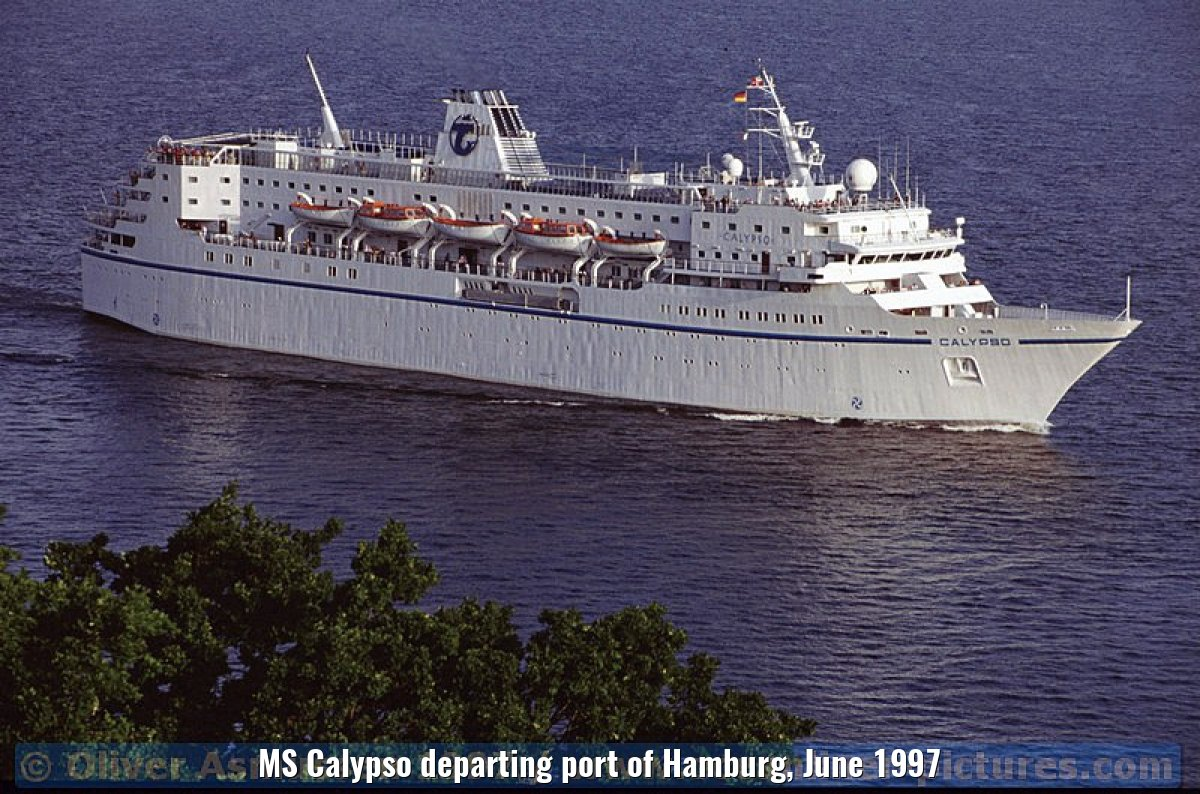 MS Calypso departing port of Hamburg, June 1997