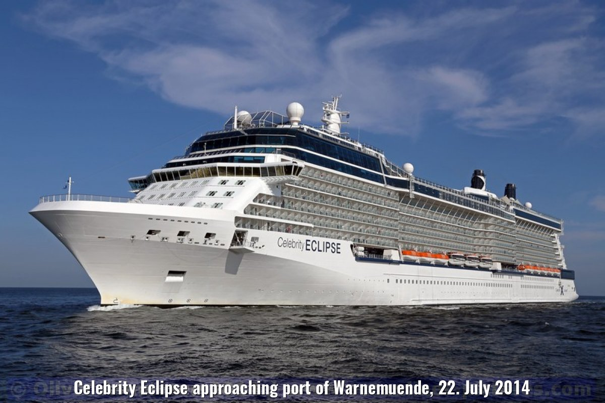 Celebrity Eclipse approaching port of Warnemuende, 22. July 2014