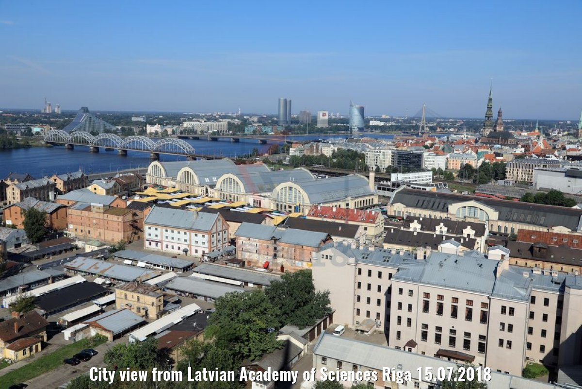 City view from Latvian Academy of Sciences Riga 15.07.2018