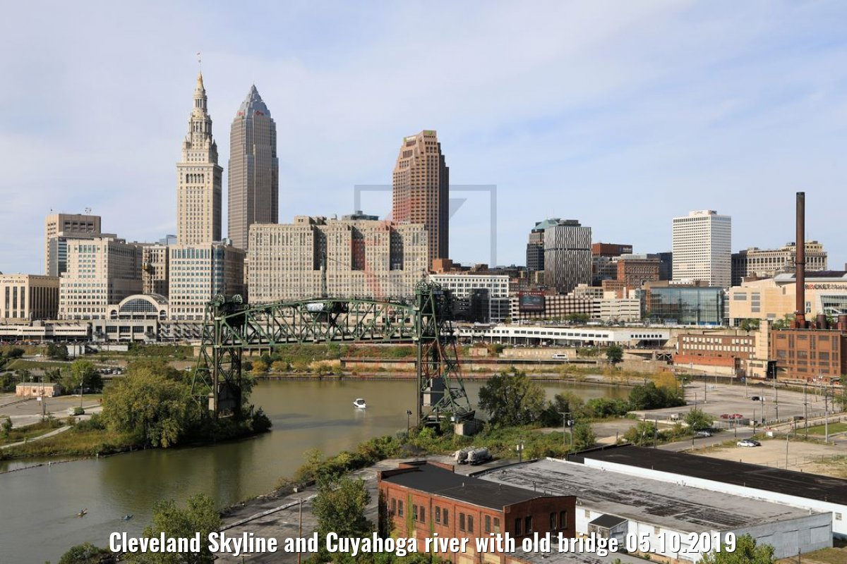 Cleveland Skyline and Cuyahoga river with old bridge 05.10.2019