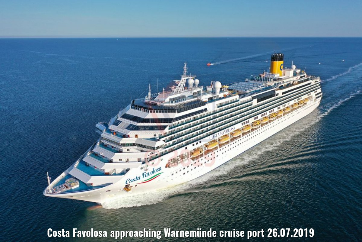 Costa Favolosa approaching Warnemünde cruise port 26.07.2019