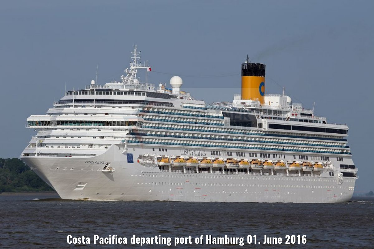 Costa Pacifica departing port of Hamburg 01. June 2016
