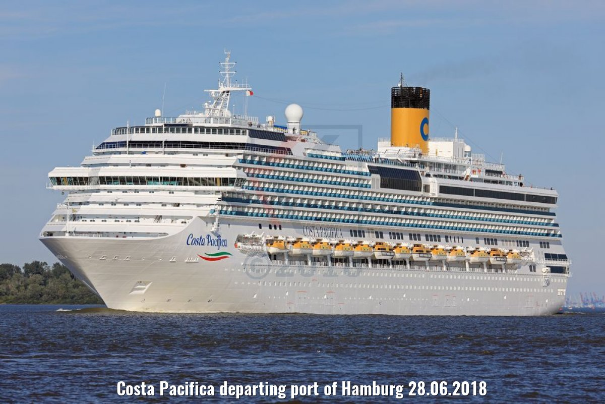 Costa Pacifica departing port of Hamburg 28.06.2018