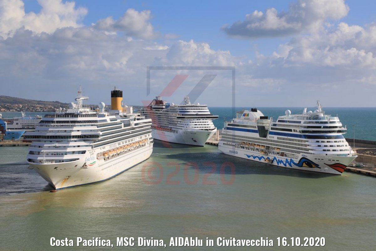 Costa Pacifica, MSC Divina, AIDAblu in Civitavecchia 16.10.2020