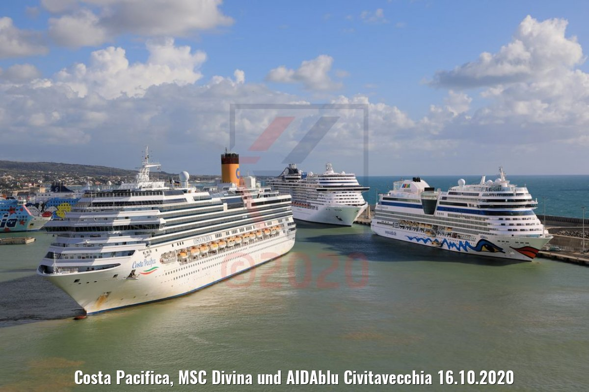 Costa Pacifica, MSC Divina und AIDAblu Civitavecchia 16.10.2020