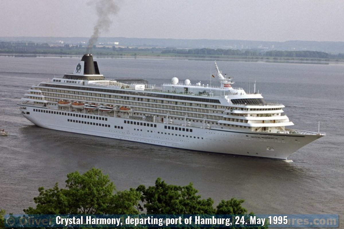 Crystal Harmony, departing port of Hamburg, 24. May 1995