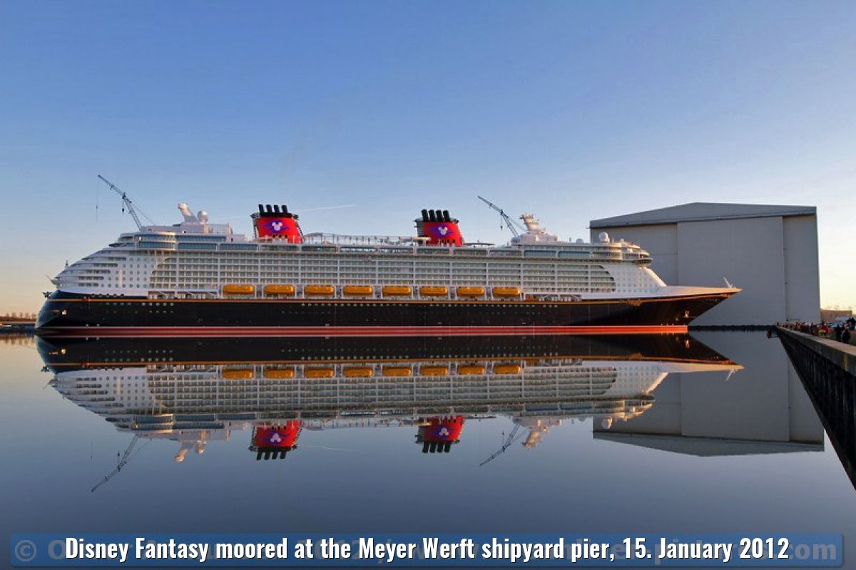 Disney Fantasy moored at the Meyer Werft shipyard pier, 15. January 2012