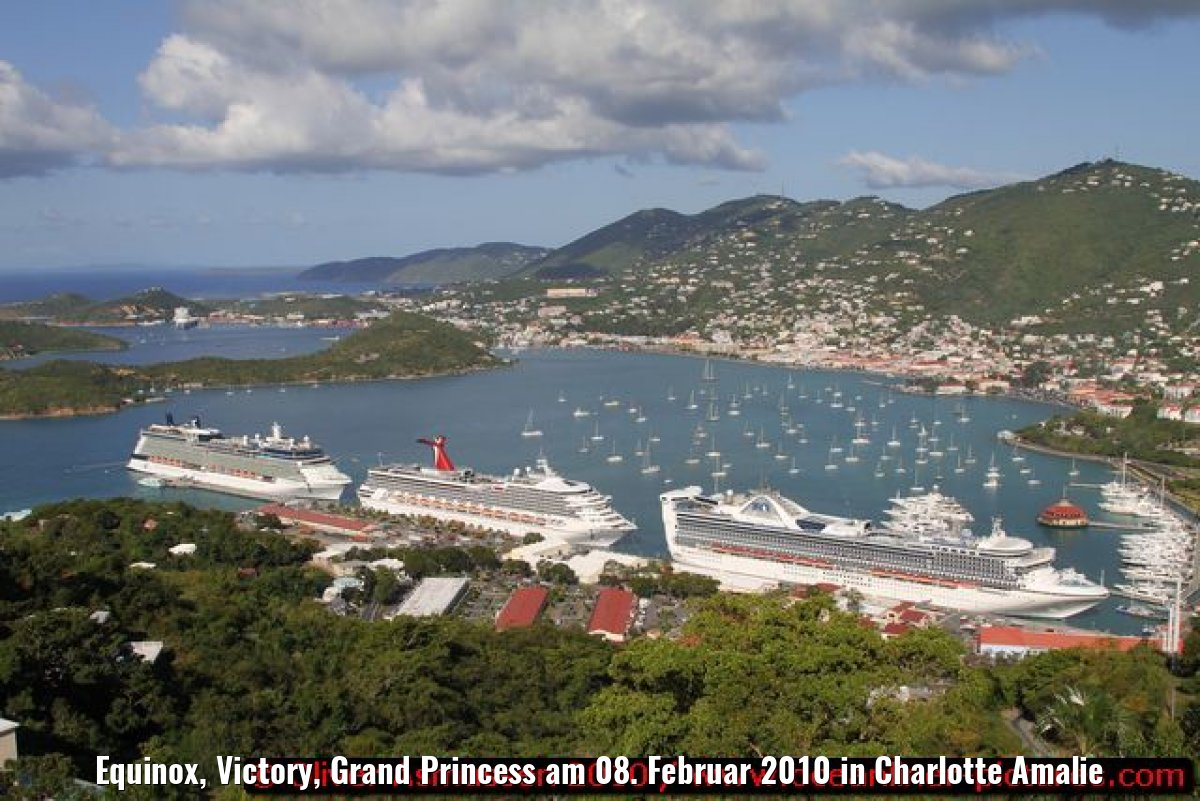 Equinox, Victory, Grand Princess am 08. Februar 2010 in Charlotte Amalie