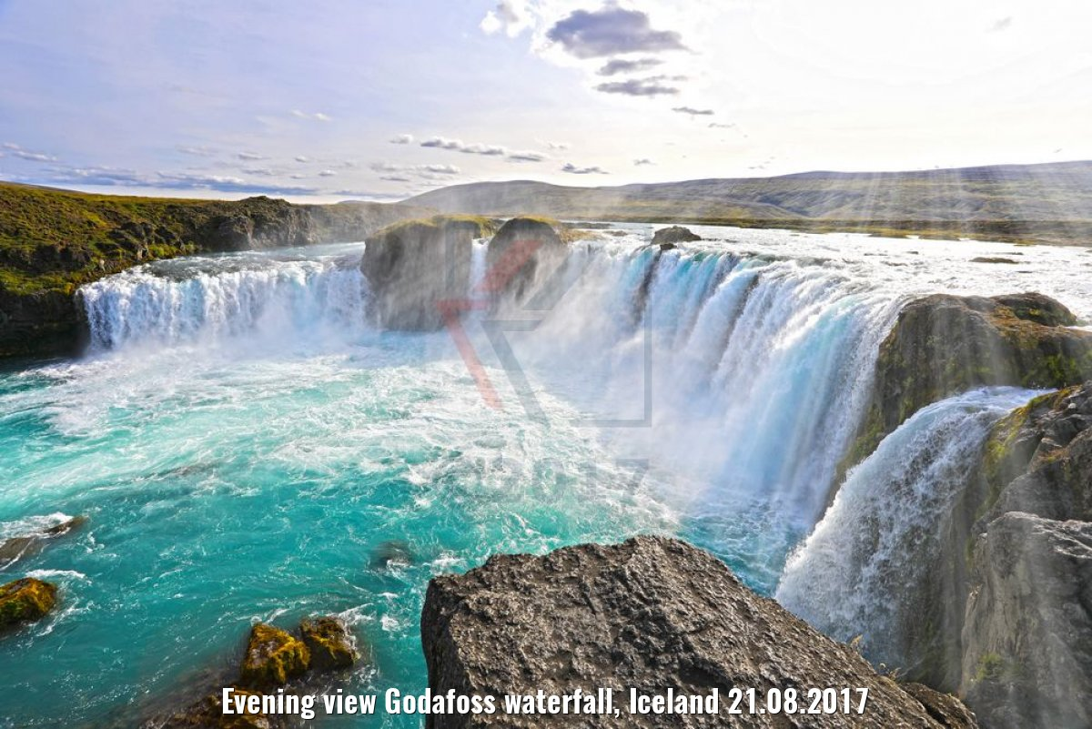 Evening view Godafoss waterfall, Iceland 21.08.2017