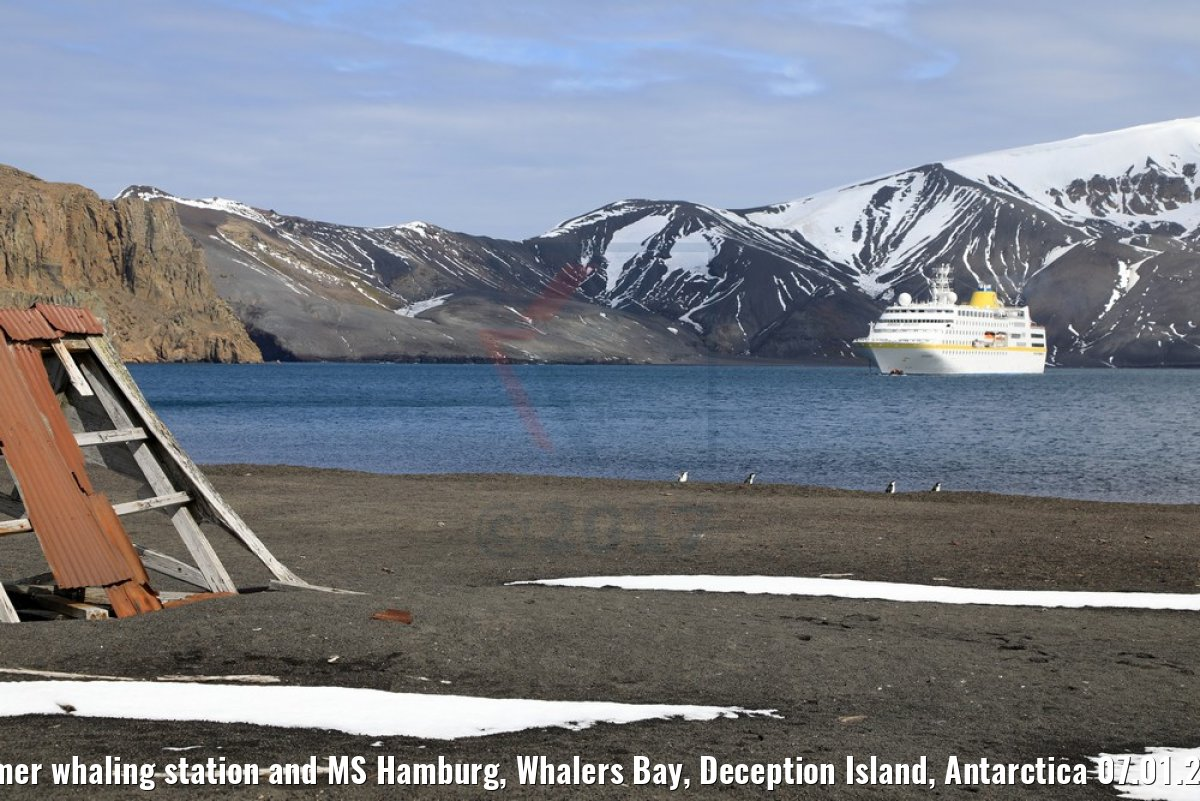 Former whaling station and MS Hamburg, Whalers Bay, Deception Island, Antarctica 07.01.2017