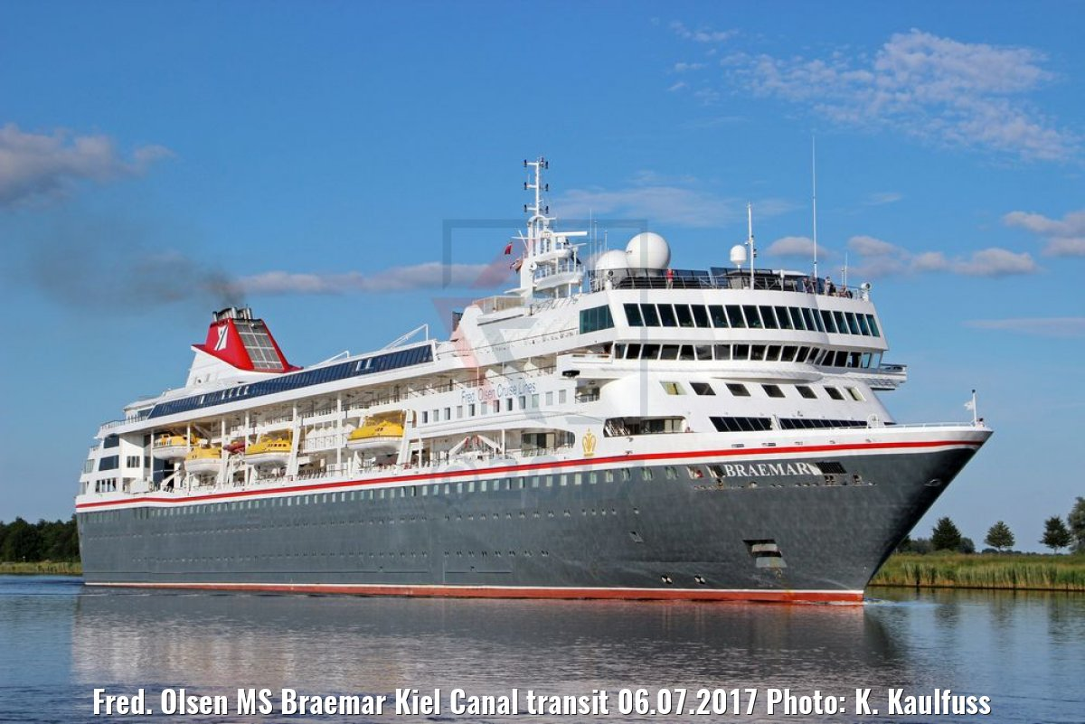 Fred. Olsen MS Braemar Kiel Canal transit 06.07.2017 Photo: K. Kaulfuss