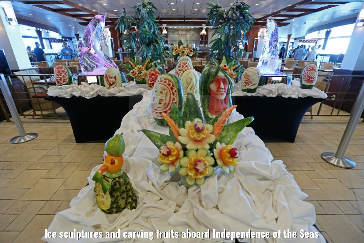 Ice sculptures and carving fruits aboard Independence of the Seas