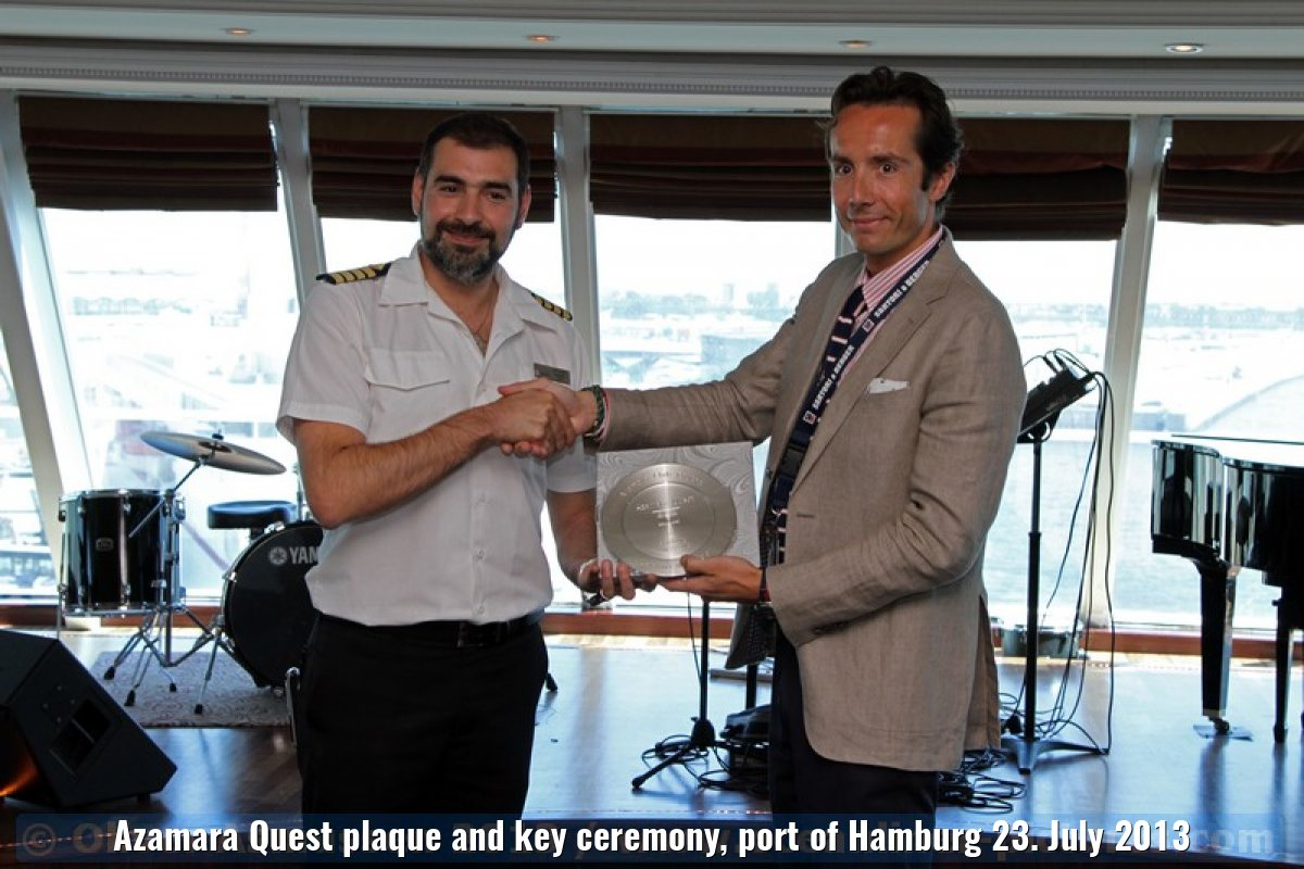 Azamara Quest plaque and key ceremony, port of Hamburg 23. July 2013