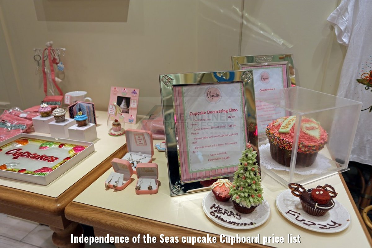 Independence of the Seas cupcake Cupboard price list