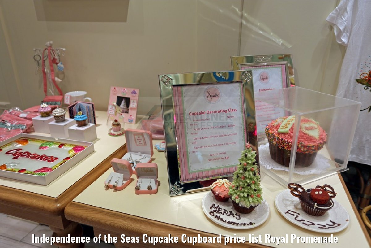 Independence of the Seas Cupcake Cupboard price list Royal Promenade