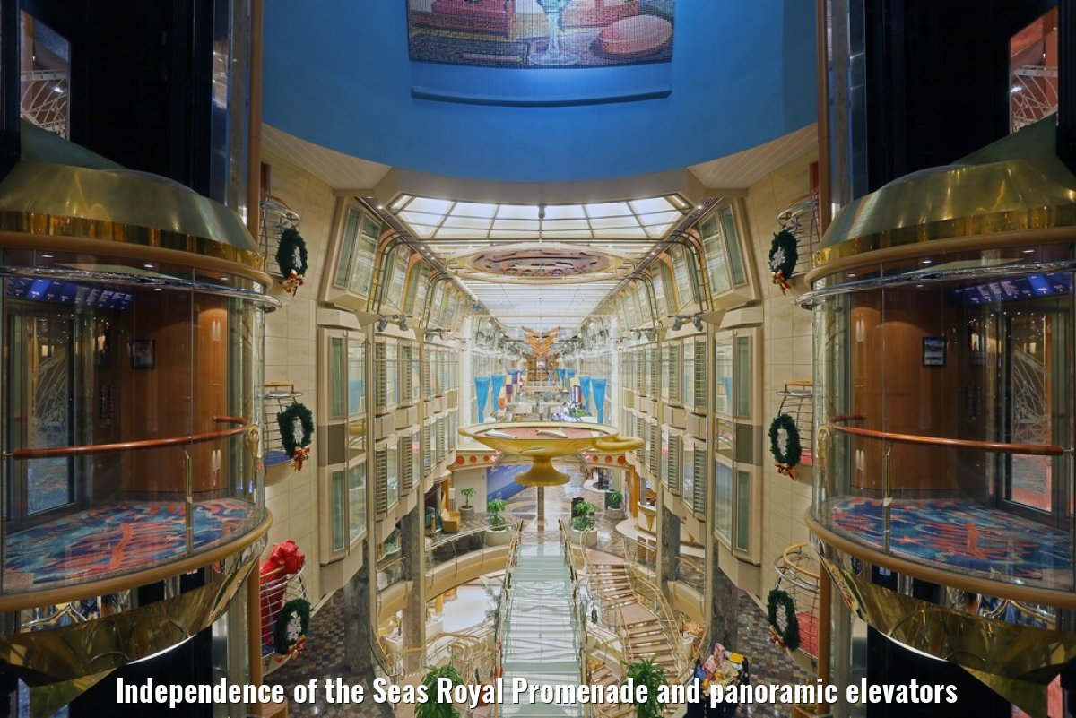 Independence of the Seas Royal Promenade and panoramic elevators