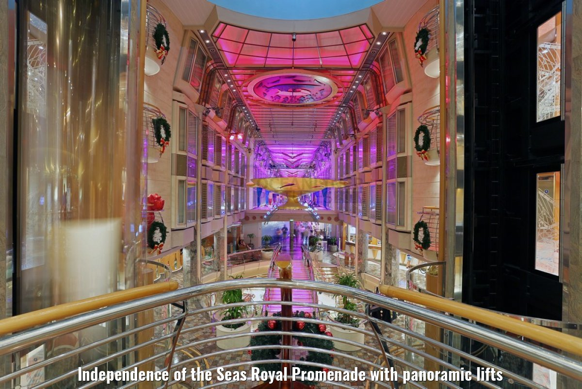 Independence of the Seas Royal Promenade with panoramic lifts