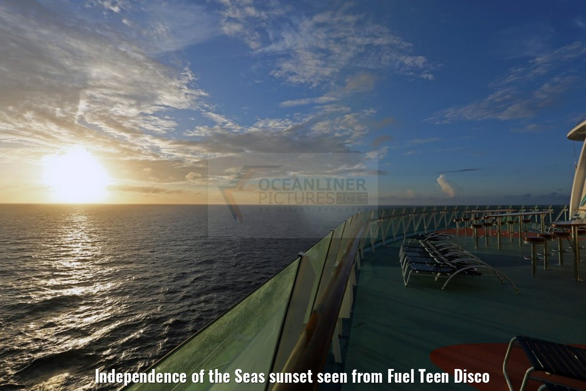 Independence of the Seas sunset seen from Fuel Teen Disco