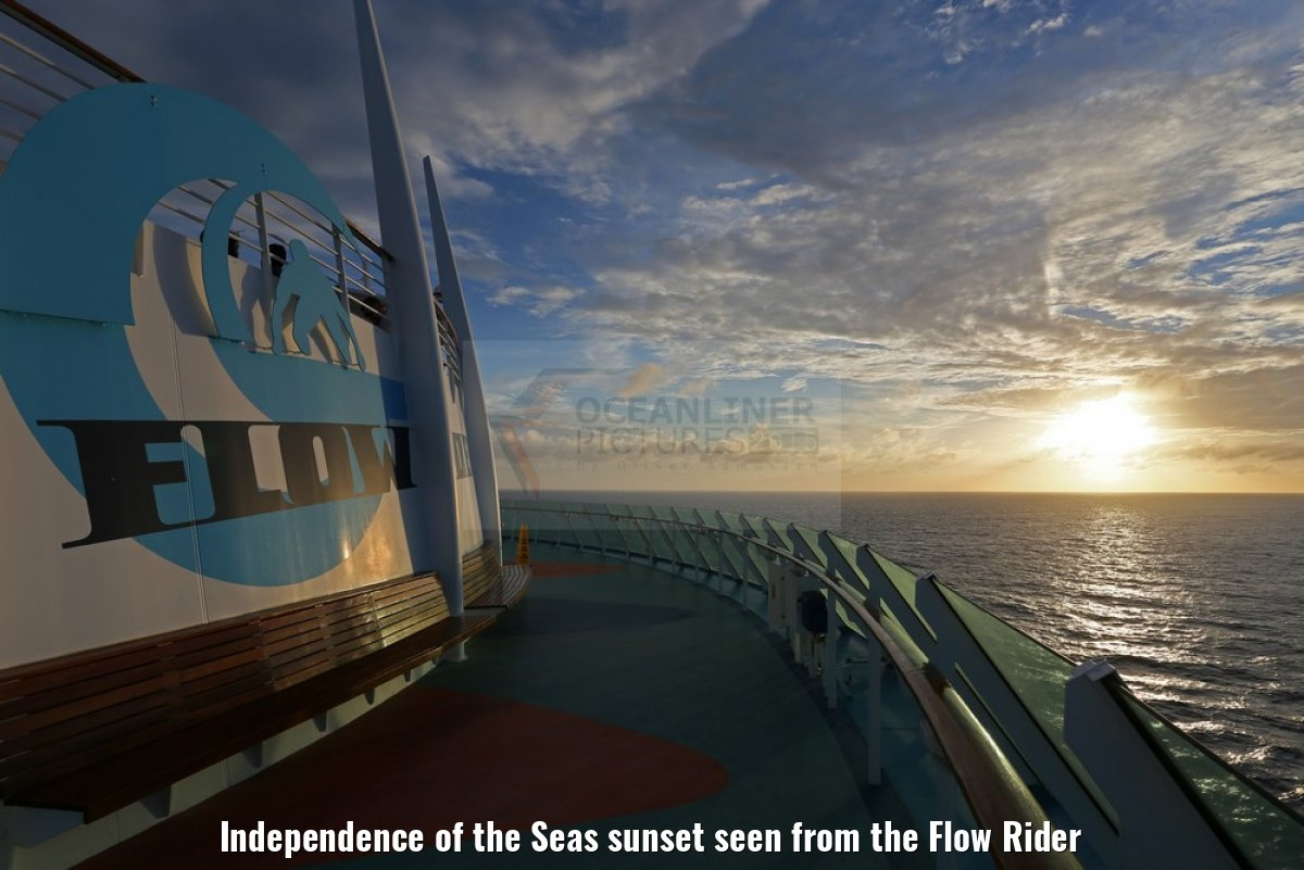 Independence of the Seas sunset seen from the Flow Rider