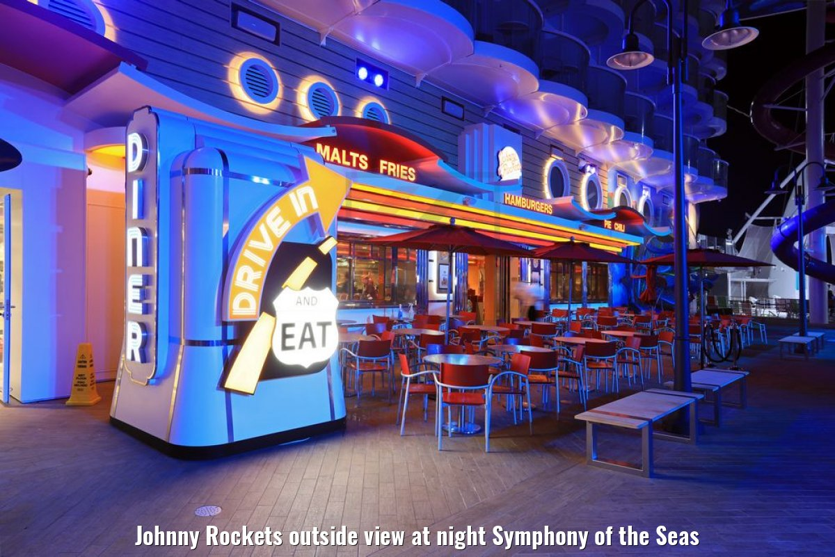 Johnny Rockets outside view at night Symphony of the Seas