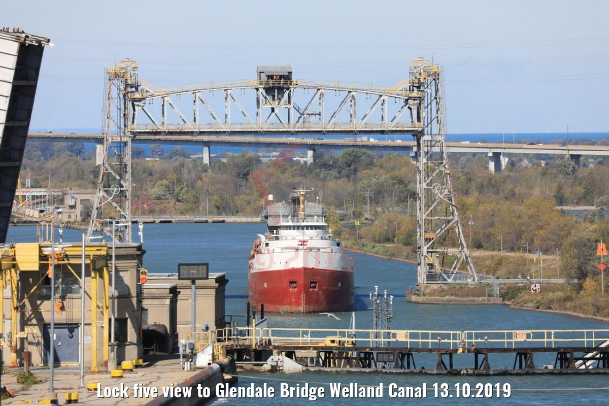 Lock five view to Glendale Bridge Welland Canal 13.10.2019