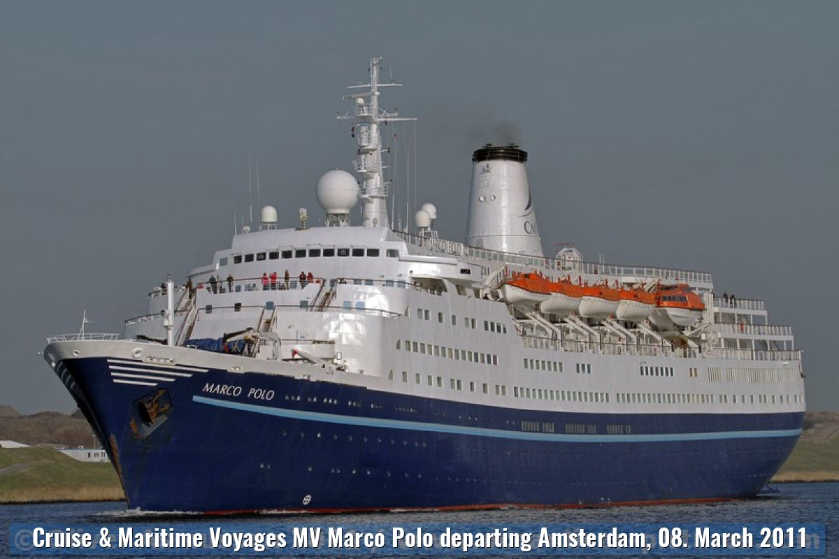 Cruise & Maritime Voyages MV Marco Polo departing Amsterdam, 08. March 2011