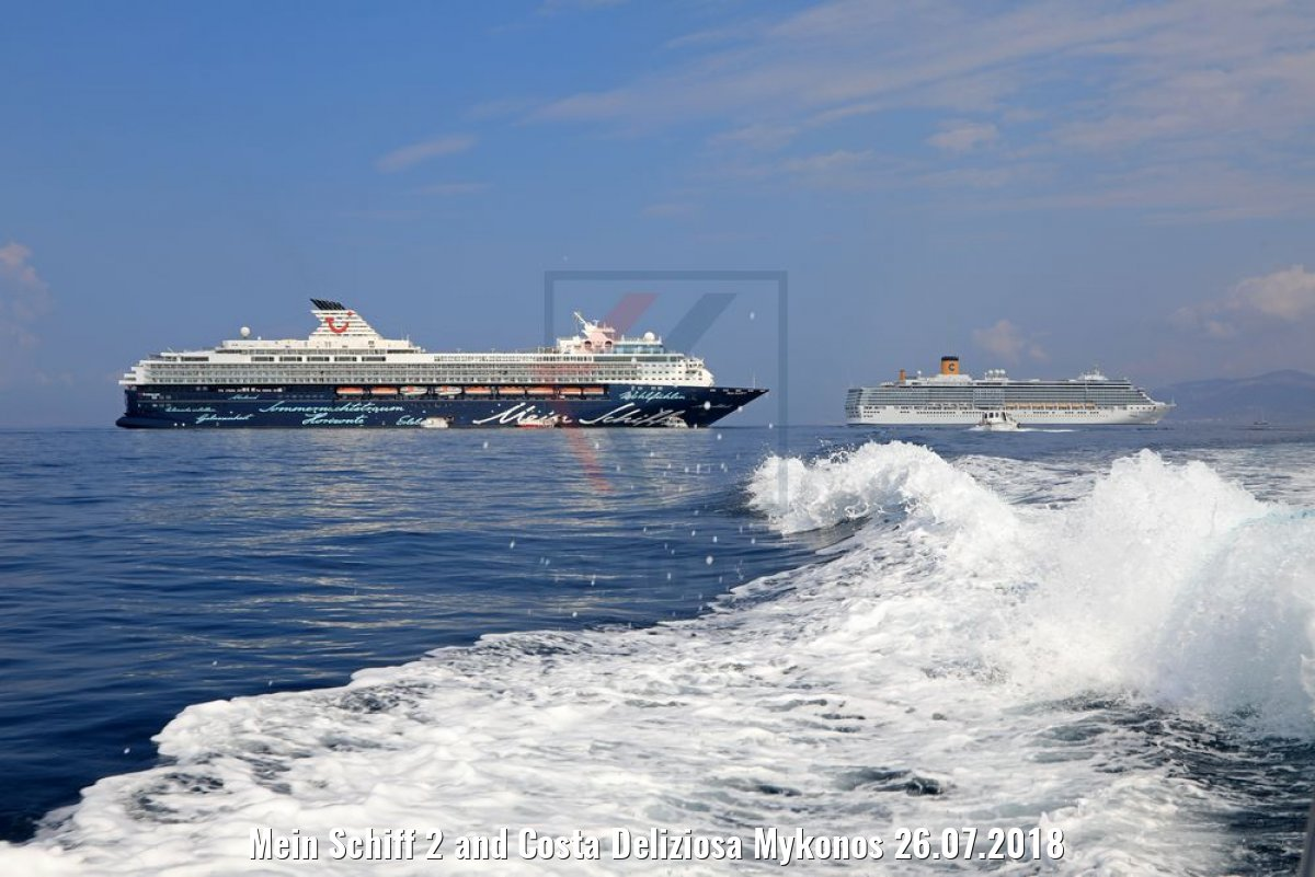 Mein Schiff 2 and Costa Deliziosa Mykonos 26.07.2018
