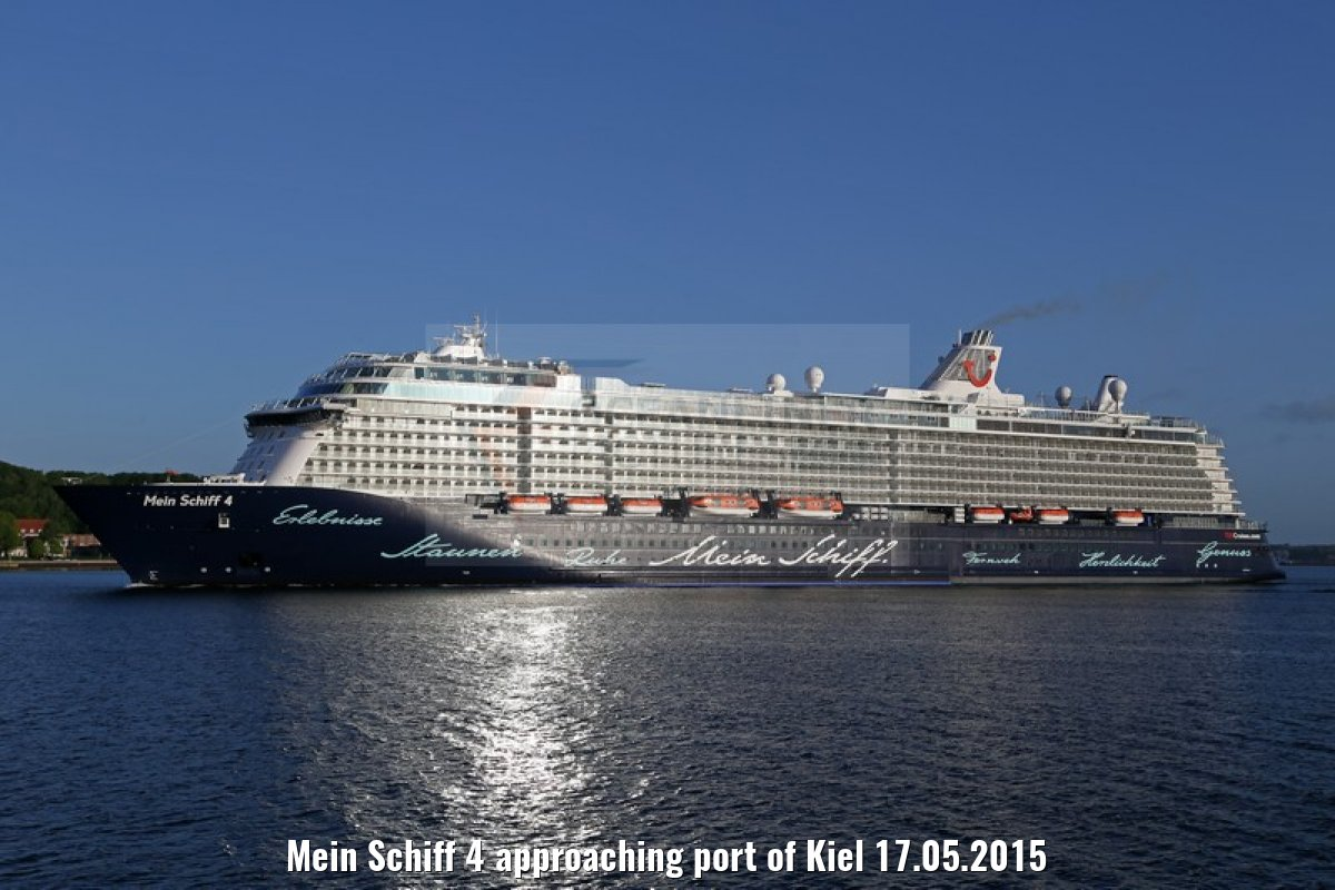 Mein Schiff 4 approaching port of Kiel 17.05.2015
