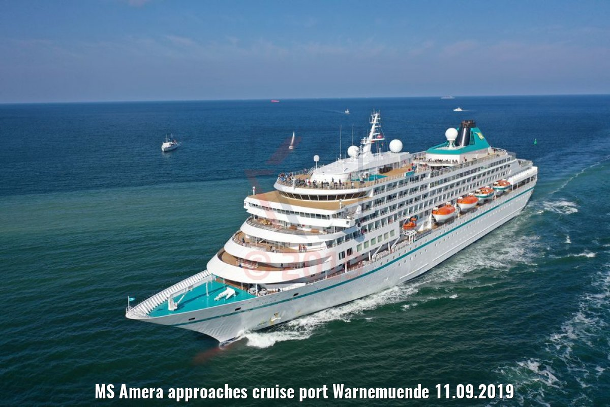 MS Amera approaches cruise port Warnemuende 11.09.2019