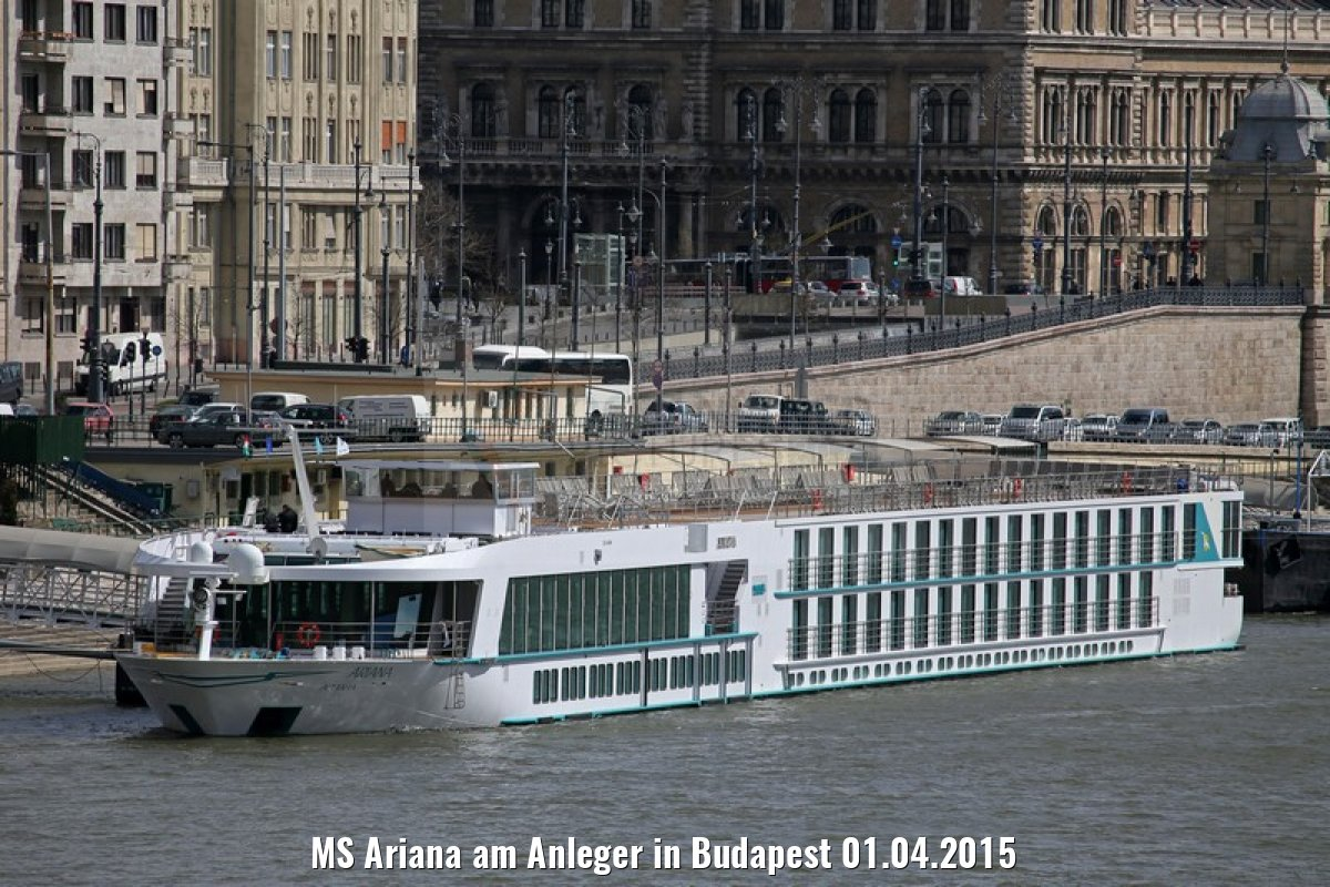 MS Ariana am Anleger in Budapest 01.04.2015