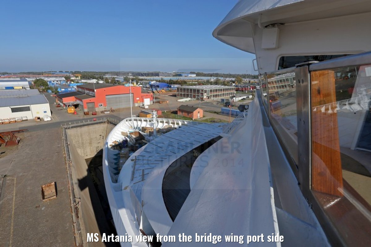 MS Artania view from the bridge wing port side