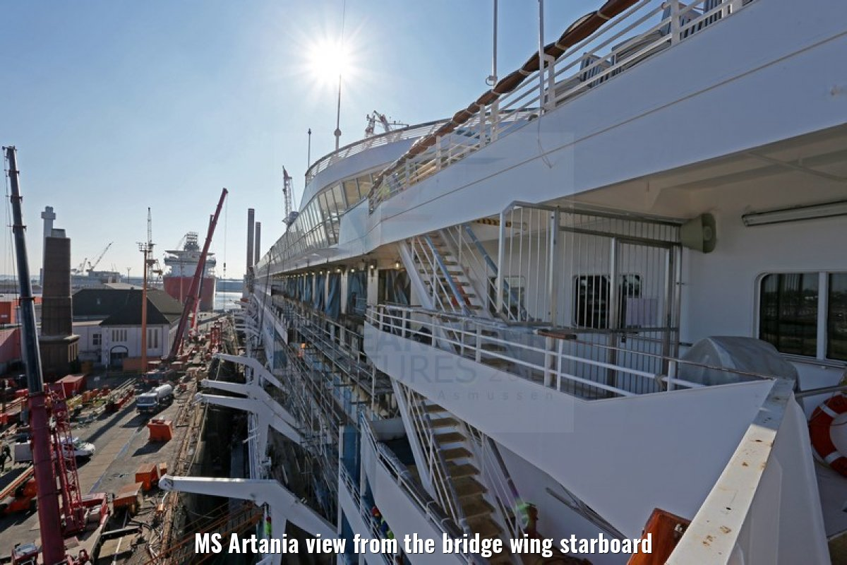 MS Artania view from the bridge wing starboard