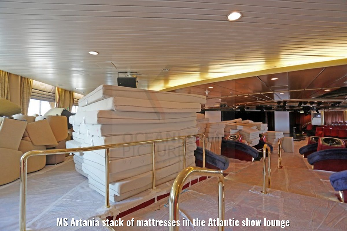 MS Artania stack of mattresses in the Atlantic show lounge