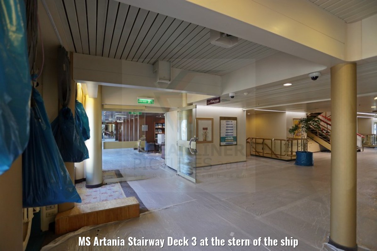 MS Artania Stairway Deck 3 at the stern of the ship