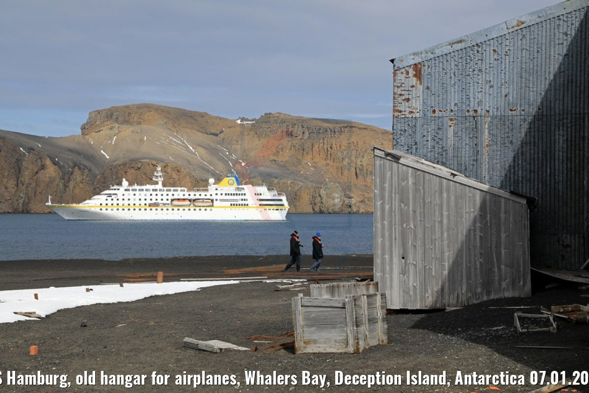 MS Hamburg, old hangar for airplanes, Whalers Bay, Deception Island, Antarctica 07.01.2017