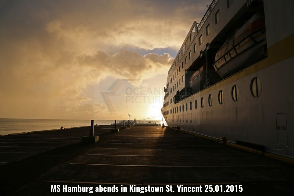 MS Hamburg abends in Kingstown St. Vincent 25.01.2015