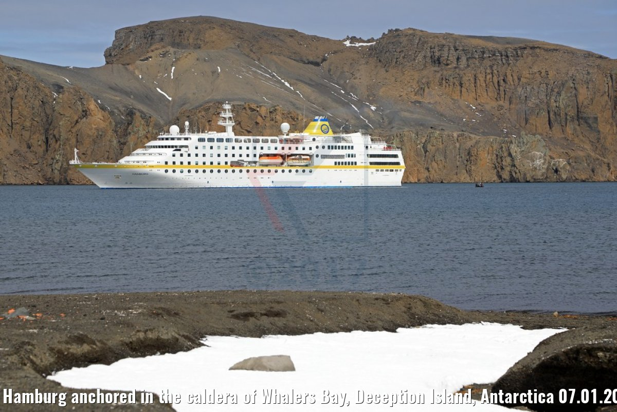 MS Hamburg anchored in the caldera of Whalers Bay, Deception Island, Antarctica 07.01.2017