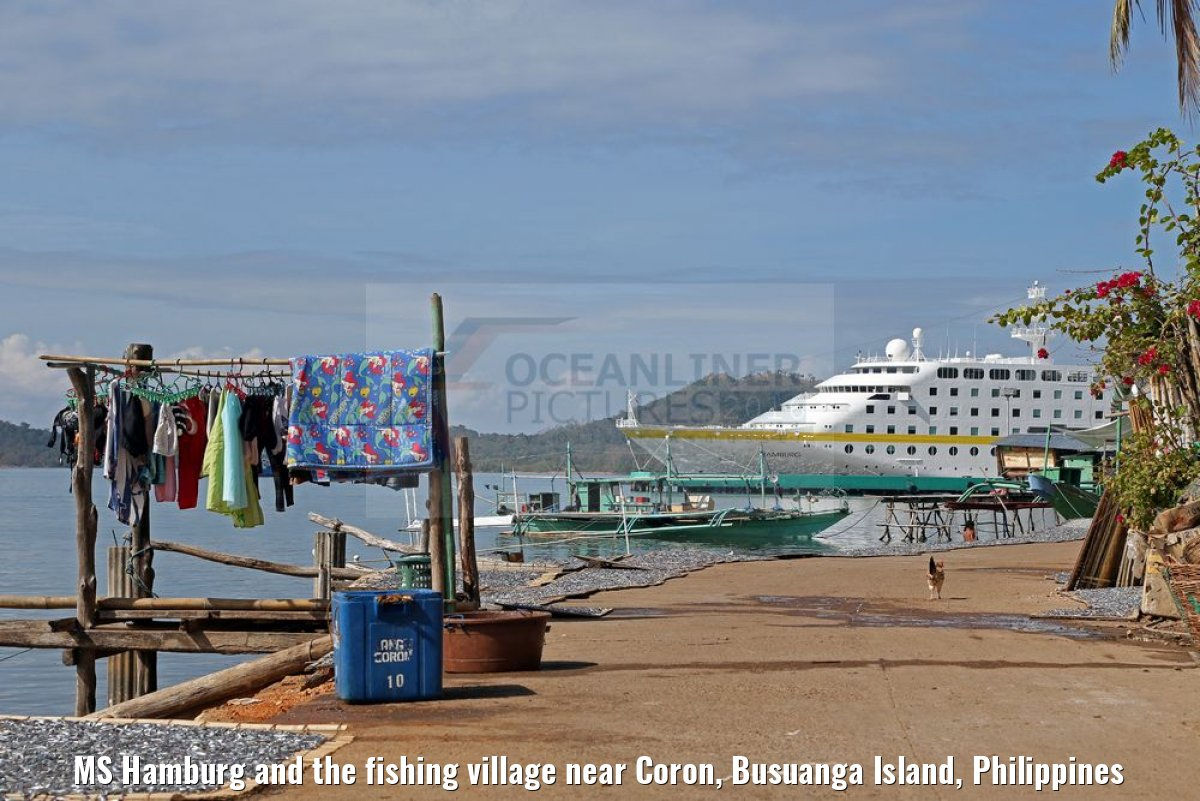MS Hamburg and the fishing village near Coron, Busuanga Island, Philippines