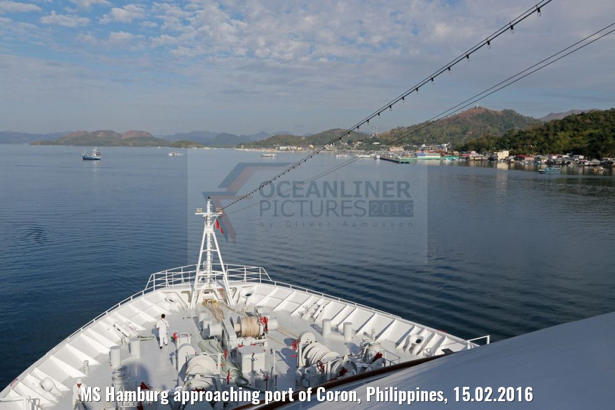 MS Hamburg approaching port of Coron, Philippines, 15.02.2016